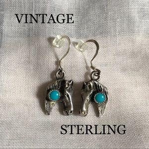Vintage Sterling Horse Earrings